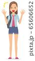 ロングヘアーの若い女性が驚いている 65606652