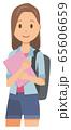 ロングヘアーの若い女性がノートを持っている 65606659