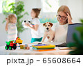 Mother working from home with kids. Quarantine. 65608664
