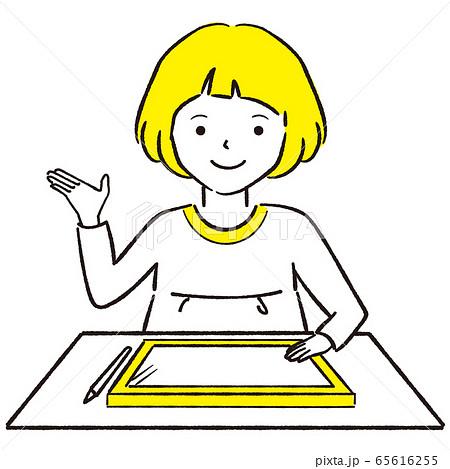 手描き1color  おかっぱ女の子 ペンタブレット できた 65616255