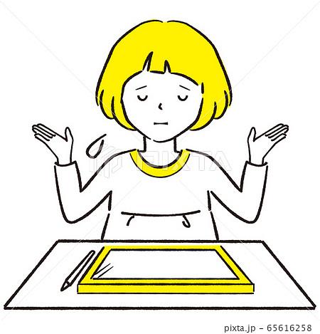 手描き1color  おかっぱ女の子 ペンタブレット お手上げ 65616258