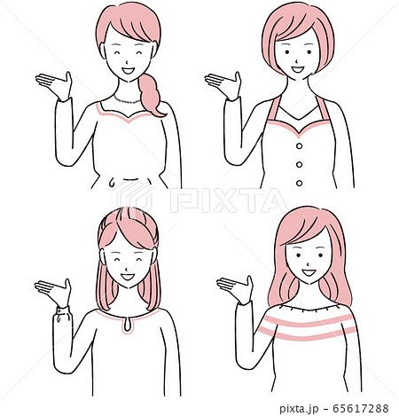 手描き1color 案内する女性4人 65617288