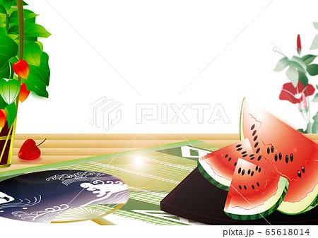 スイカと鬼灯にうちわや朝顔のイラスト日本の夏の風景横スタイル背景素材 65618014