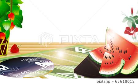 スイカと鬼灯にうちわや朝顔のイラスト日本の夏の風景横スタイルワイドバーチャル背景素材 65618015