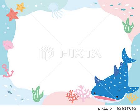 かわいいジンベエザメ 海 フレーム POP 横 65618665