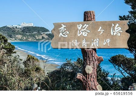 表示板越しに恋路ヶ浜を望む 65619556