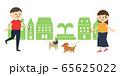 男女 犬の散歩 挨拶 イラスト 65625022