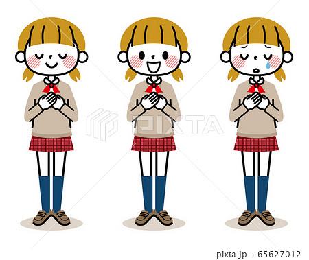 女の子 学生 表情 65627012