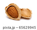 Group of almonds isolated on white background 65629945