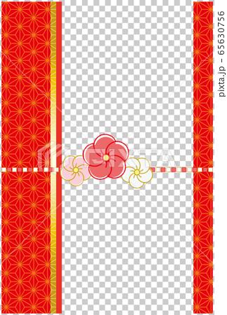 麻の葉和柄背景 梅の花の水引風リボン 65630756