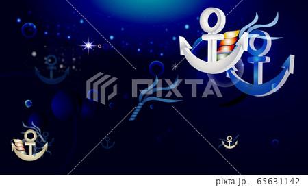 海のイメージ錨と泡のイラスト横スタイルワイドサイズバーチャルブラック背景素材 65631142