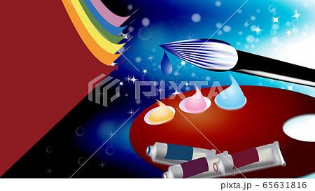 絵筆パレット絵の道具は筆や絵の具のイラスト横スタイルワイドバーチャル背景 65631816