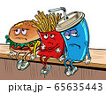 sad fast food characters fries Cola Burger 65635443