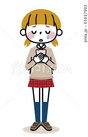 学生 女の子 スマホ 泣く 65637993