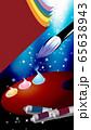 絵筆パレット絵の道具は筆や絵の具のイラスト縦スタイルワイドバーチャル背景 65638943
