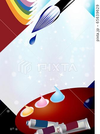 絵筆パレット絵の道具は筆や絵の具のイラスト縦スタイル背景素材 65639629