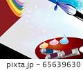 絵筆パレット絵の道具は筆や絵の具のイラスト横スタイルワ背景素材 65639630