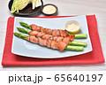 国産アスパラのベーコン巻き、アスパラベーコン、グリル料理、簡単レシピ。 65640197
