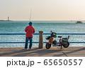 Fisherman fishing along the waterfront 65650557