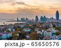 Cityscape of Qingdao during sunset 65650576