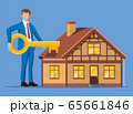 Businessman holding big key near house building. 65661846