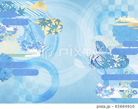 和風背景素材-清涼感-和紙-夏-水紋-波紋 65664910
