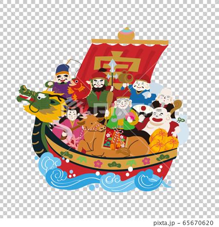 年賀状 2021 デザイン イラスト 宝船 丑年 和牛 65670620