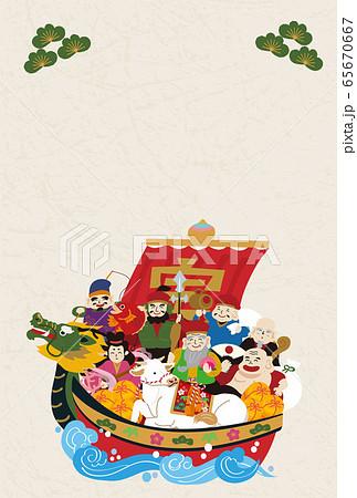 年賀状 2021 デザイン イラスト 宝船 丑年 和紙 縦 65670667