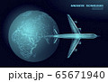 Airplane flying from around planet Earth. Flight up tourism journey symbol. Airline flight reservation concept speed travel. Mobile app online store, technology banner template 3D vector illustration 65671940