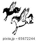 pegasus winged horse flying forward side view black vector design 65672244