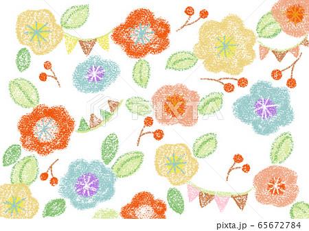 お花の背景 クレヨンのイラスト素材