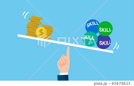 お金とスキル習得の天秤イメージ 65678615