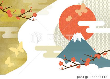 梅と蝶と富士 65683118