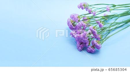 紫のスターチス(リモニウム・ハナハマサジ)の花束の写真 65685304