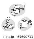 家事 炊事 洗濯 掃除 モノクロ 65690733