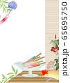 アイスキャンディ―がある風景縁側にうちわや鬼灯朝顔に風鈴のイラスト縦スタイル背景素材 65695750