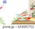 アイスキャンディ―がある風景縁側にうちわや鬼灯朝顔に風鈴のイラスト横スタイル背景素材 65695752
