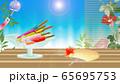 アイスキャンディ―がある風景縁側にうちわや鬼灯朝顔に風鈴のイラスト横スタイルワイドバーチャル背景 65695753