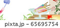 アイスキャンディ―がある風景縁側にうちわや鬼灯朝顔に風鈴のイラストバナー素材 65695754