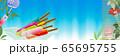 アイスキャンディ―がある風景に朝顔と風鈴のイラストバナー素材 65695755
