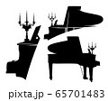 black vector silhouette design set of grand piano with candles in baroque style candlestick 65701483