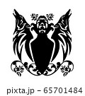 howling wolf and rose flowers around heraldic shield black vector silhouette design 65701484