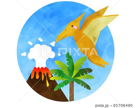 プテラドンがいる水彩風の古代の挿絵 65706490
