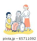 女性介護スタッフと車椅子のシニア男性と妻 65711092