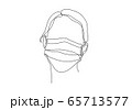 One continuous line drawing  medical face mask. Concept of corona virus. 65713577