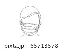 One continuous line drawing  medical face mask. Concept of corona virus. 65713578