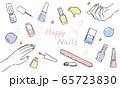 かわいいネイルアイテムのパステル系イラスト 65723830