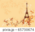 eiffel tower and tree branches autumn season vector copy space background 65730674