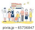 介護施設 車椅子のおばあちゃんと介護スタッフ 65736847