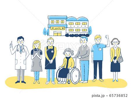 介護施設 車椅子のおばあちゃんと介護スタッフ 65736852